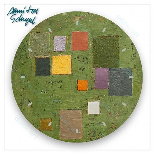 Ceas de perete - Abstract, compoziție pe verde 1