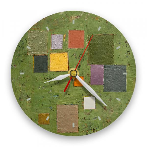 Ceas de perete - Abstract, compoziție pe verde 0