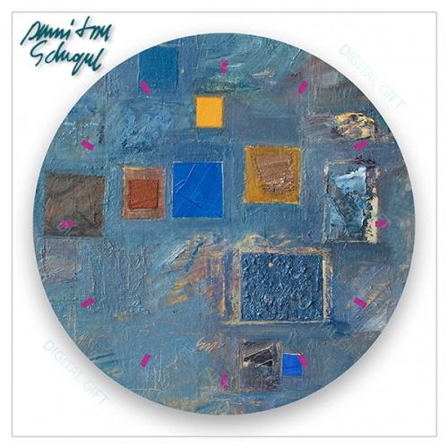 Ceas de perete - Abstract, ritm pe albastru 1