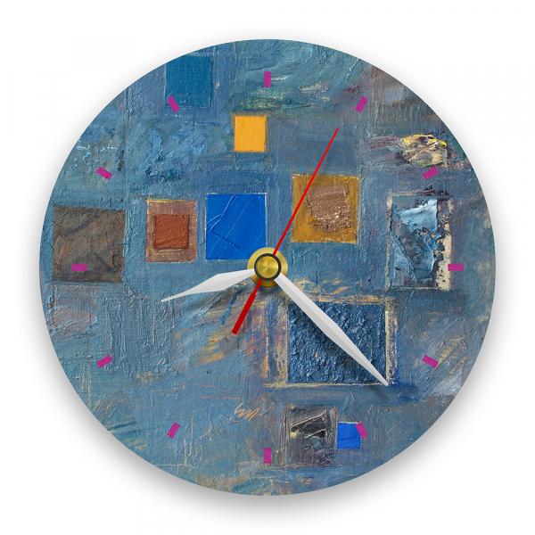 Ceas de perete - Abstract, ritm pe albastru 0