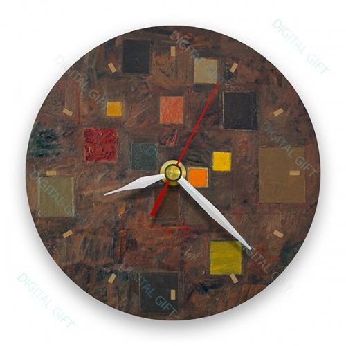 Ceas de perete - Abstract, ritm pe maro 0