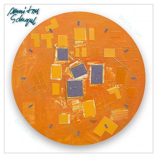 Ceas de perete - Abstract, ritm pe oranj 1