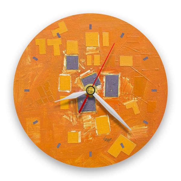Ceas de perete - Abstract, ritm pe oranj 0