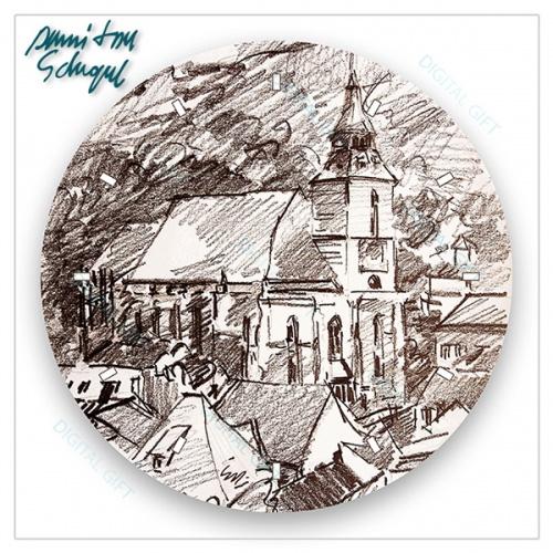 Ceas de perete - Biserica Neagră în creion 1