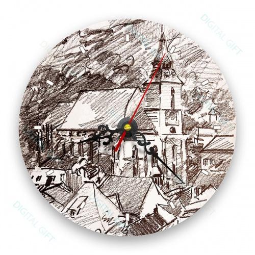 Ceas de perete - Biserica Neagră în creion 0