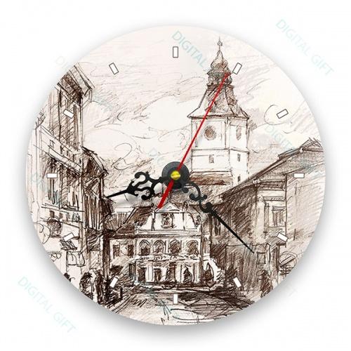 Ceas de perete - Casa Sfatului în creion 0