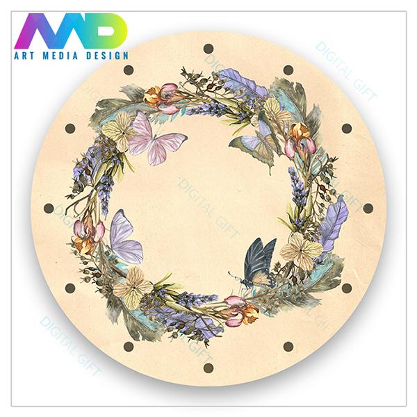 Ceas de perete - Coroană de flori cu fluturi 1