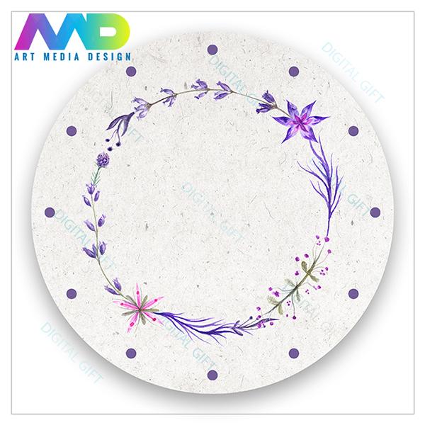 Ceas de perete - Coroană de flori violet 1