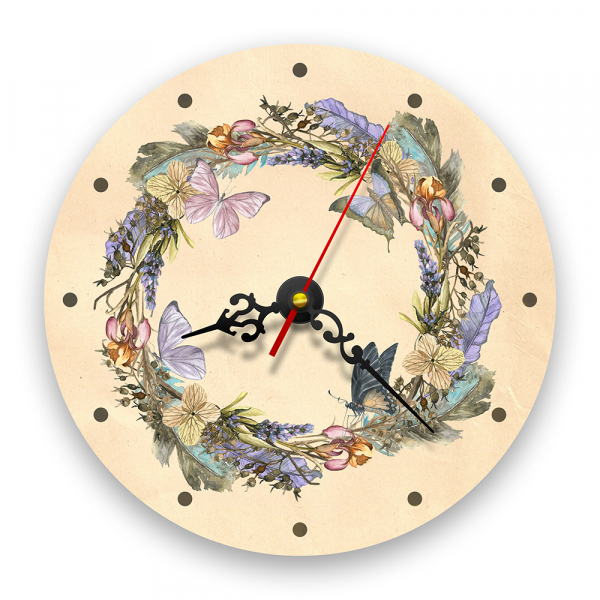 Ceas de perete - Coroană de flori cu fluturi 0