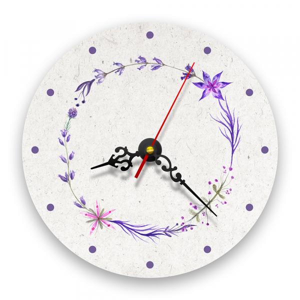 Ceas de perete - Coroană de flori violet 0