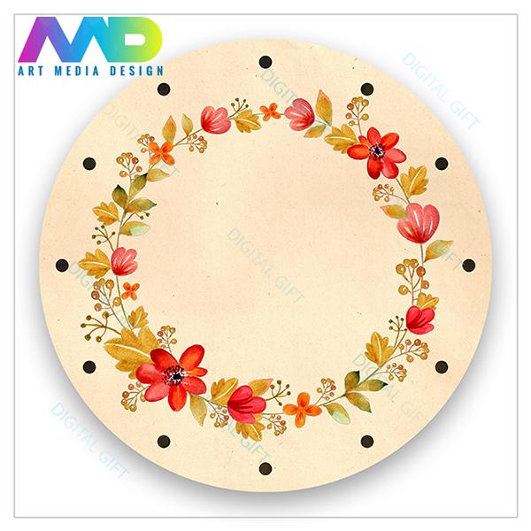 Ceas de perete - Flori și frunze retro 1