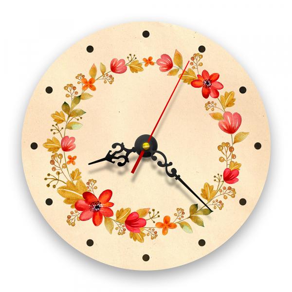 Ceas de perete - Flori și frunze retro 0
