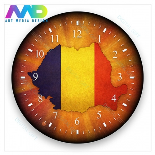 Ceas de perete - Harta României 1