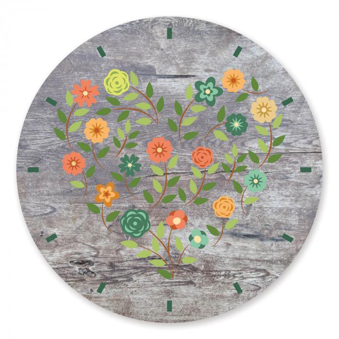 Ceas de perete - Inimă din flori vintage [2]