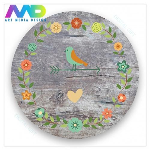 Ceas de perete - Păsări și flori vintage 1