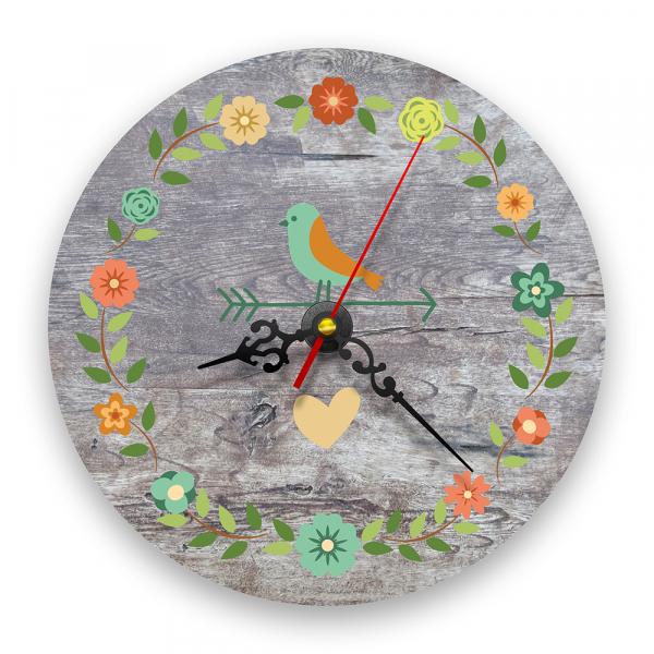 Ceas de perete - Păsări și flori vintage 0
