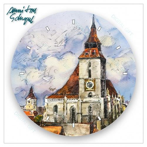 Ceas de perete - Peisaj din Brașov 1