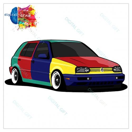 Hanorac unisex - VW Golf 3 Harlequin 1