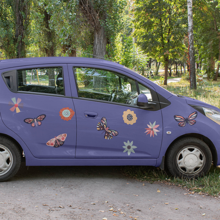 Set stickere auto - Fluturi și flori [0]