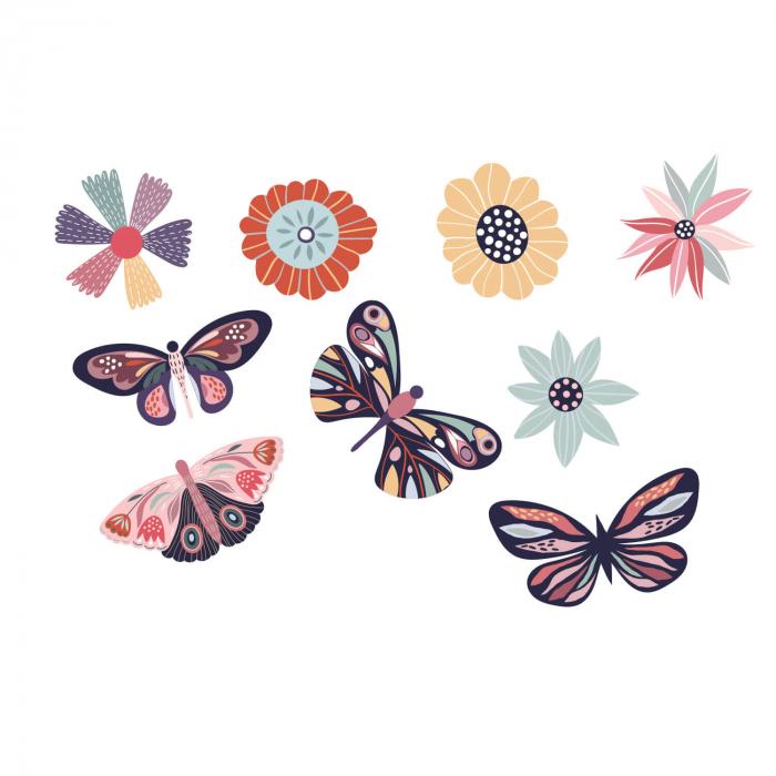 Set stickere auto - Fluturi și flori [1]