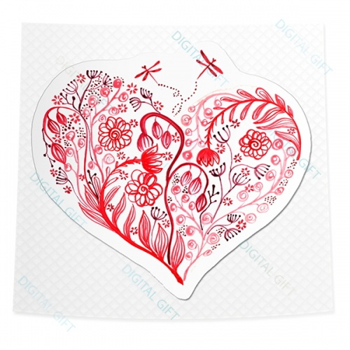 Sticker clasic - Inima înflorind 0