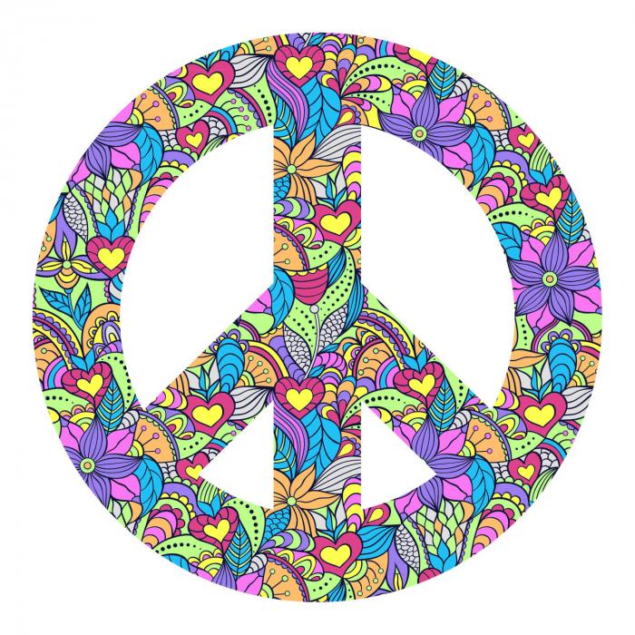 Sticker clasic - Peace boho style [1]