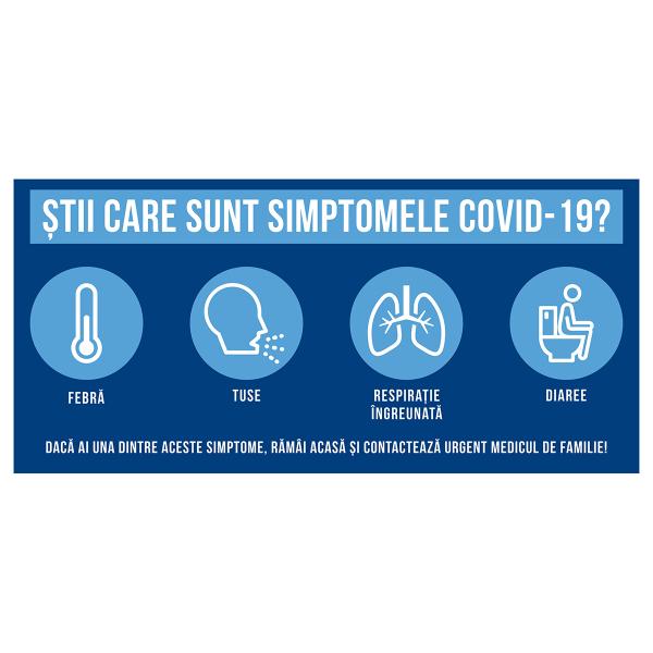 """Sticker informativ Covid-19 - """"Știi care sunt simptomele?"""" 0"""
