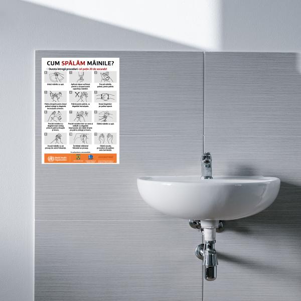 """Sticker informativ Covid-19 - """"Cum spălăm corect mâinile?"""" 1"""