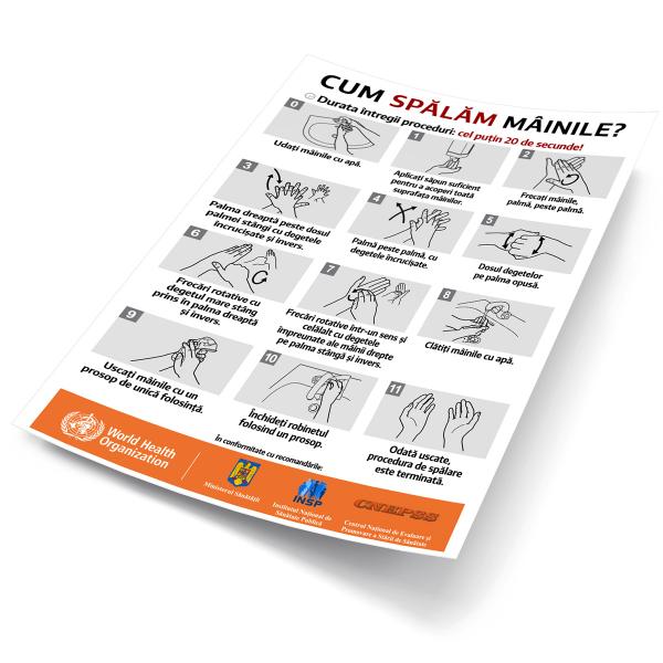 """Sticker informativ Covid-19 - """"Cum spălăm corect mâinile?"""" 2"""