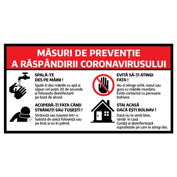 "Sticker informativ Covid-19 - ""Măsuri de prevenție"" 0"