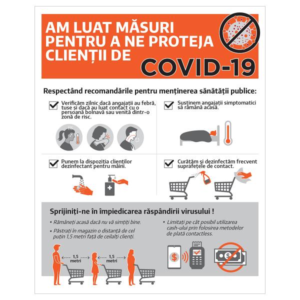 """Sticker informativ Covid-19 - """"Măsuri de protecție pentru clienți"""" [0]"""