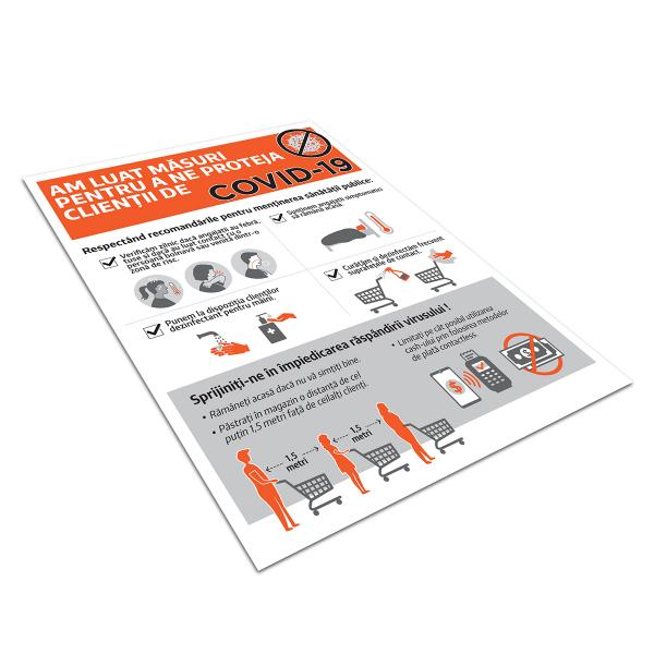"""Poster informativ Covid-19 - """"Măsuri de protecție pentru clienți"""" 2"""