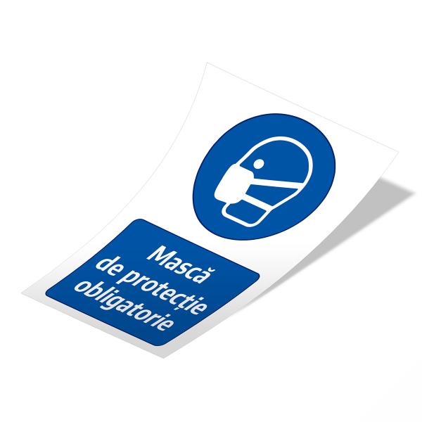 """Sticker informativ Covid-19 - """"Mască de protecție obligatorie"""" 2"""