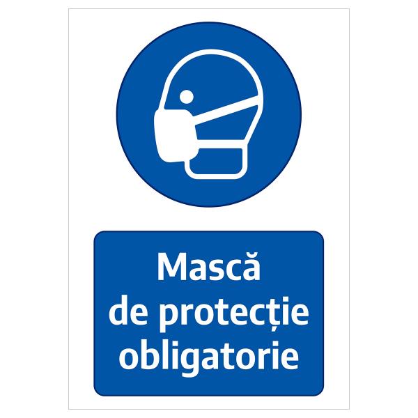 """Sticker informativ Covid-19 - """"Mască de protecție obligatorie"""" 0"""