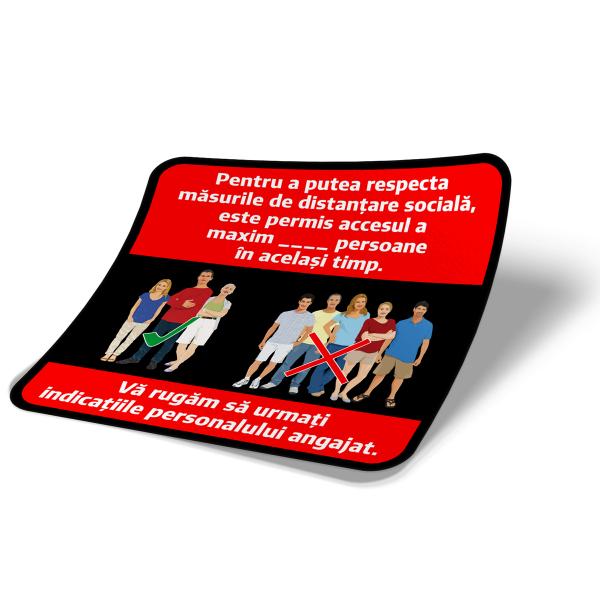 "Sticker informativ Covid-19 - ""Număr maxim de persoane admis"" 2"