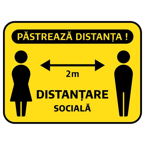 """Sticker informativ Covid-19 - """"Păstrează distanța socială"""" 0"""