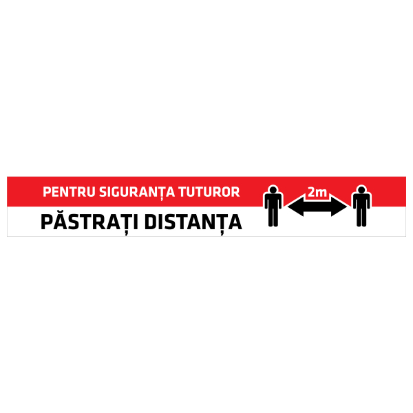 """Sticker informativ Covid-19 pentru podea - """"Păstrați distanța"""" 0"""