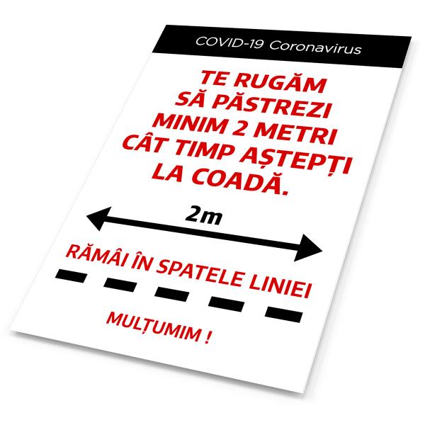 """Sticker informativ Covid-19 pentru podea - """"Rămai în spatele liniei"""" 2"""