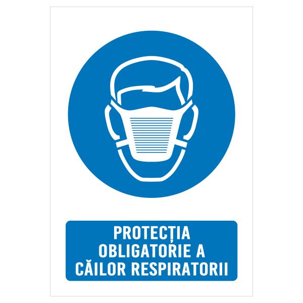"""Sticker informativ Covid-19 - """"Protecție obligatorie a căilor respiratorii"""" 0"""