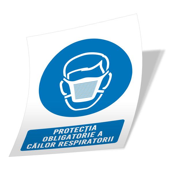 """Sticker informativ Covid-19 - """"Protecție obligatorie a căilor respiratorii"""" 2"""