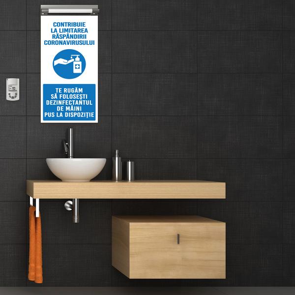 """Sticker informativ Covid-19 - """"Recomandare de dezinfectare a mâinilor"""" 1"""