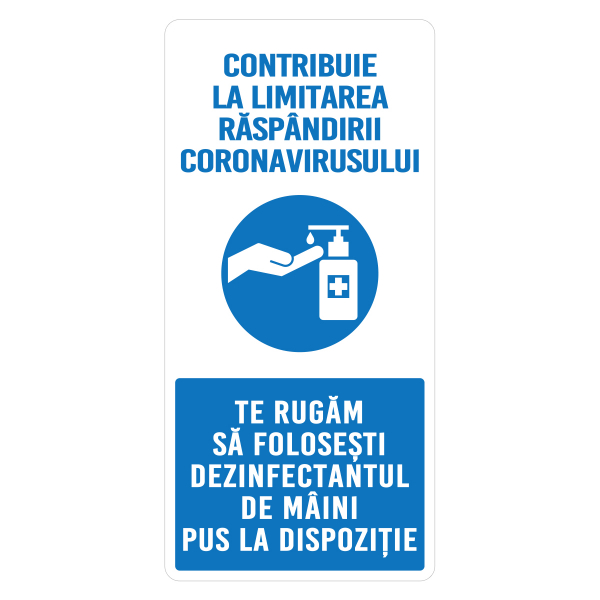 """Sticker informativ Covid-19 - """"Recomandare de dezinfectare a mâinilor"""" 0"""