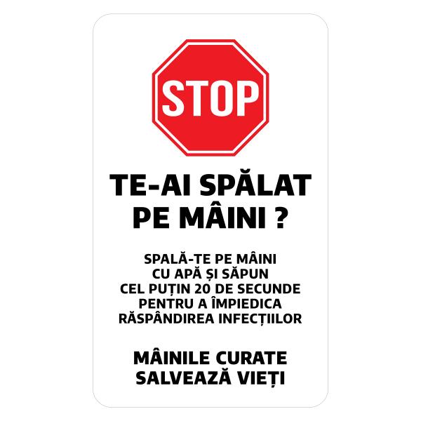 """Sticker informativ Covid-19 - """"Recomandare pentru spălarea mâinilor"""" 0"""