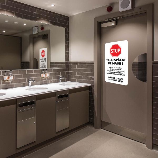 """Sticker informativ Covid-19 - """"Recomandare pentru spălarea mâinilor"""" 1"""