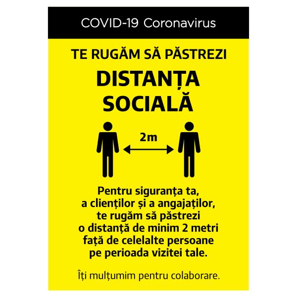 """Sticker informativ Covid-19  - """"Te rugăm să respecți distanța socială"""" 0"""