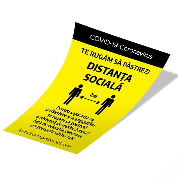 """Sticker informativ Covid-19  - """"Te rugăm să respecți distanța socială"""" 2"""
