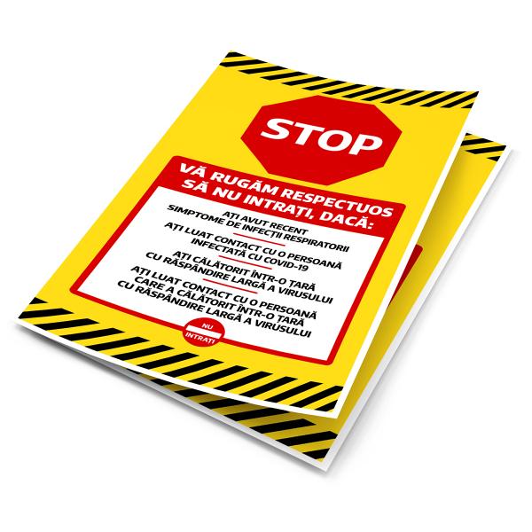 """Sticker informativ Covid-19 - """"Vă rugăm să nu intrați"""" 2"""