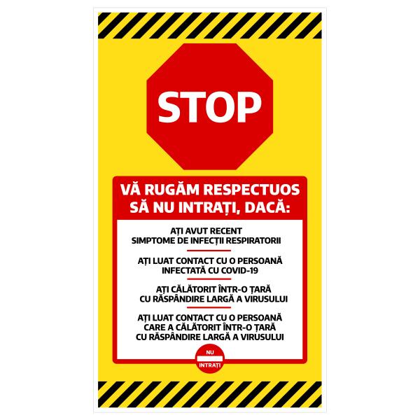 """Sticker informativ Covid-19 - """"Vă rugăm să nu intrați"""" 0"""