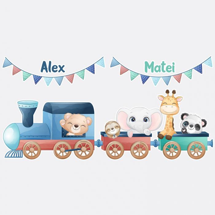 Sticker de perete personalizat, gemeni - Trenuletul de la zoo 1