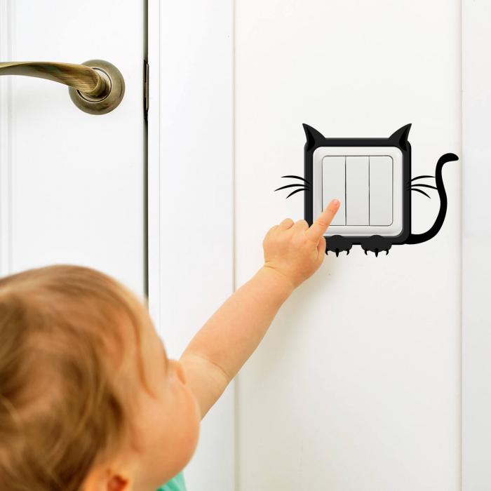 Sticker pentru întrerupător - Rama pisică [0]